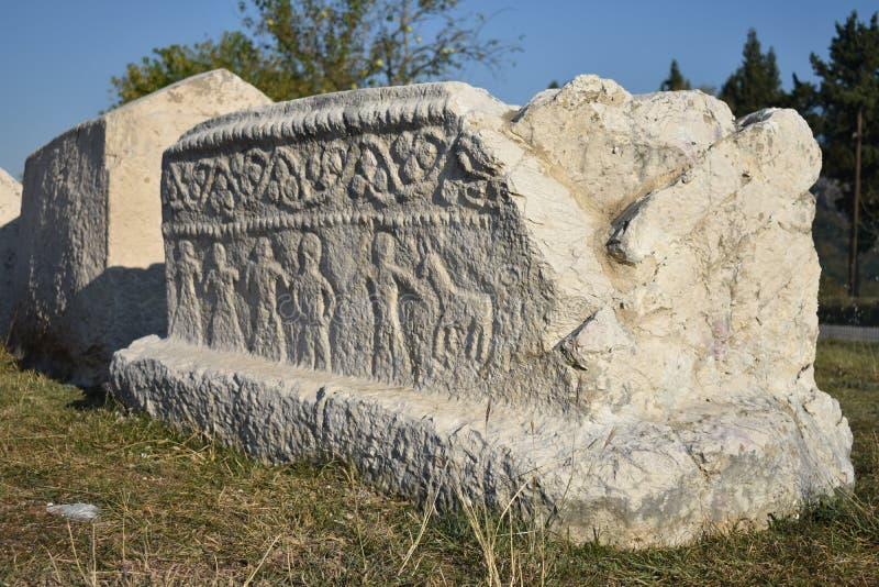 Ci famoso del ‡ dello steÄ nella necropoli medievale di Radimlja immagine stock libera da diritti