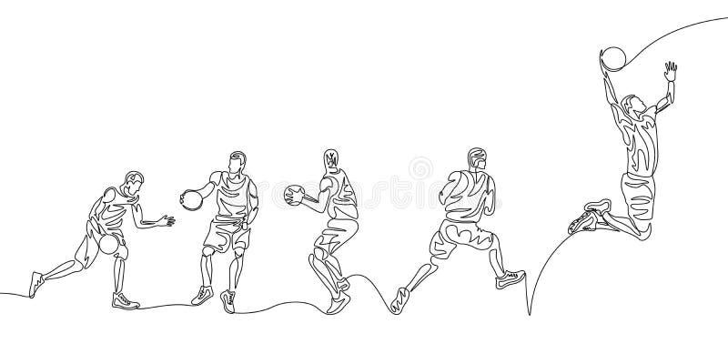 Ci?g?ej linii gracza koszyk?wkiego trzaska krok po kroku robi wsad ilustracja wektor