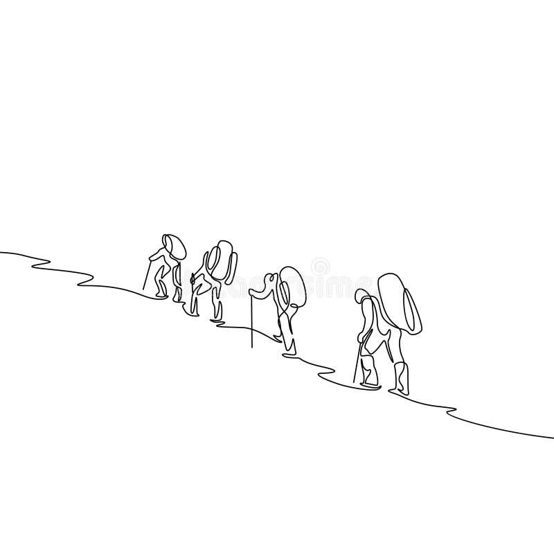 Ci?g?a jeden kreskowego rysunku grupa cztery podr??nika wycieczkuje w g?rach ilustracji