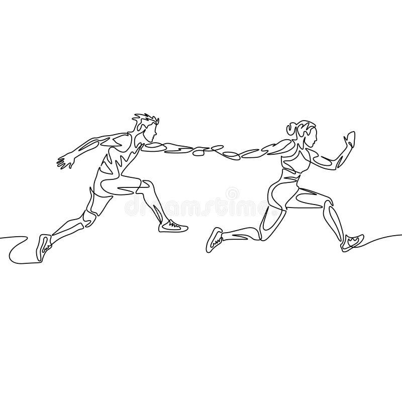 Ci?g?a jeden kreskowego rysunku sztafetowa rasa, biegacz przechodzi batut? Pracy zespo?owej poj?cie royalty ilustracja