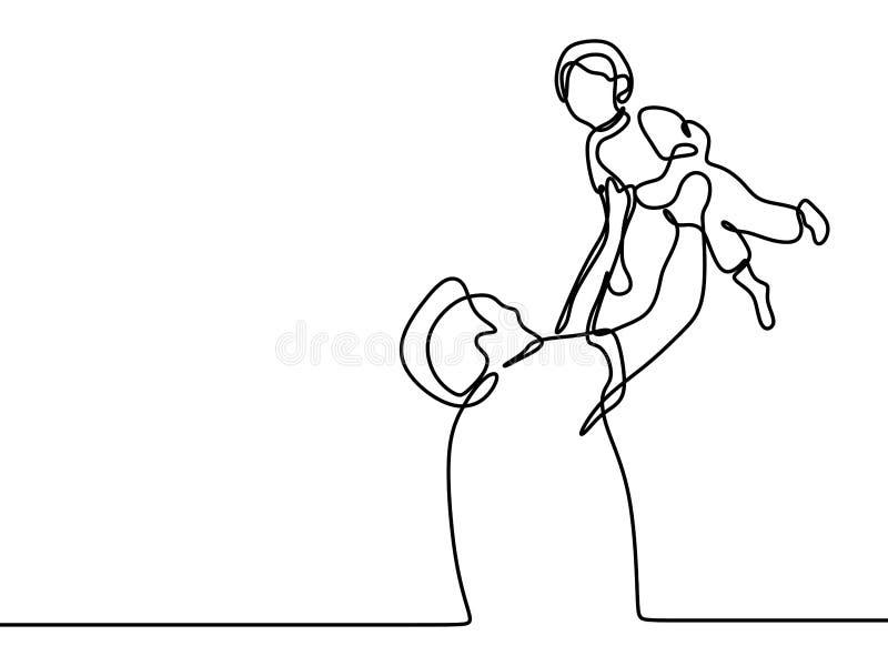 Ci?g?y kreskowy rysunek ojca i syna uroczy rodzinny poj?cie Father&-x27; s dnia karty minimalizmu styl ilustracja wektor