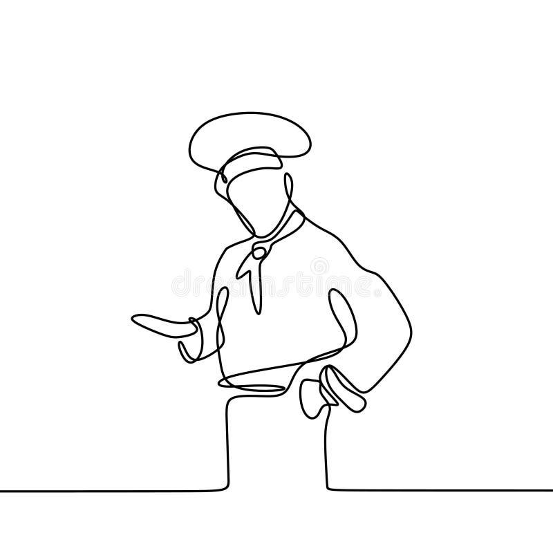 Ci?g?y kreskowy rysunek ufna szef kuchni pozycja ilustracji