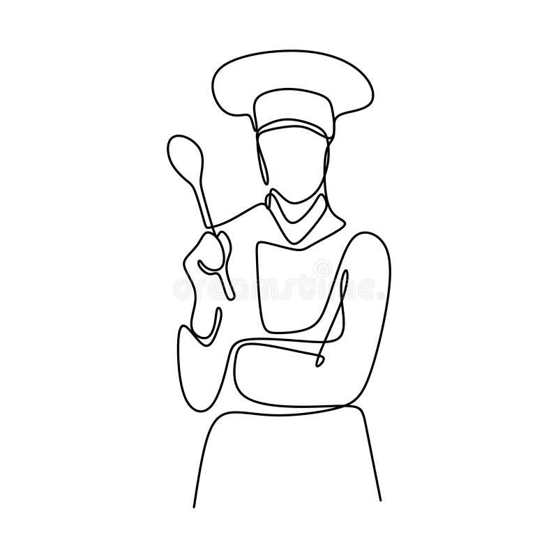 Ci?g?y kreskowy rysunek ufna szef kuchni pozycja ilustracja wektor