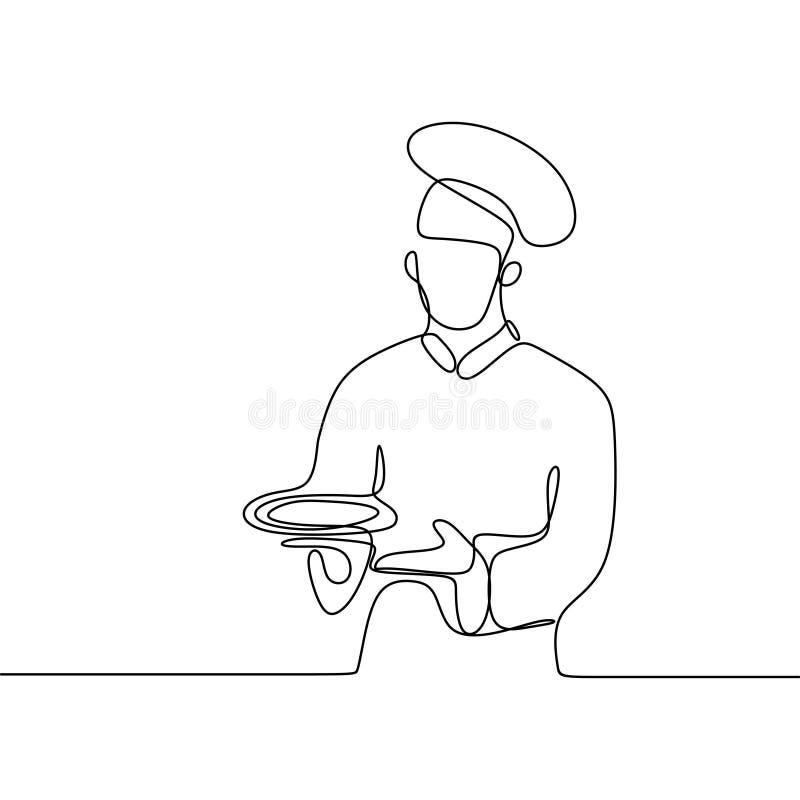 Ci?g?y kreskowy rysunek ufna szef kuchni pozycja royalty ilustracja