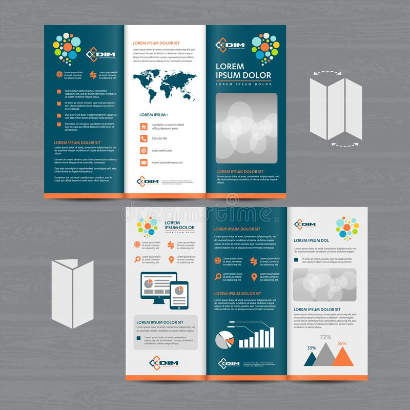 Tri-Fold Brochure Mock-up, Realistic Rendering of Tri-Fold Brochure Background, 3D Illustration. abstract business tri fold Leafle stock image