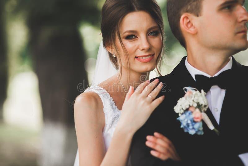 Ci?rrese para arriba de un par joven agradable de la boda foto de archivo libre de regalías