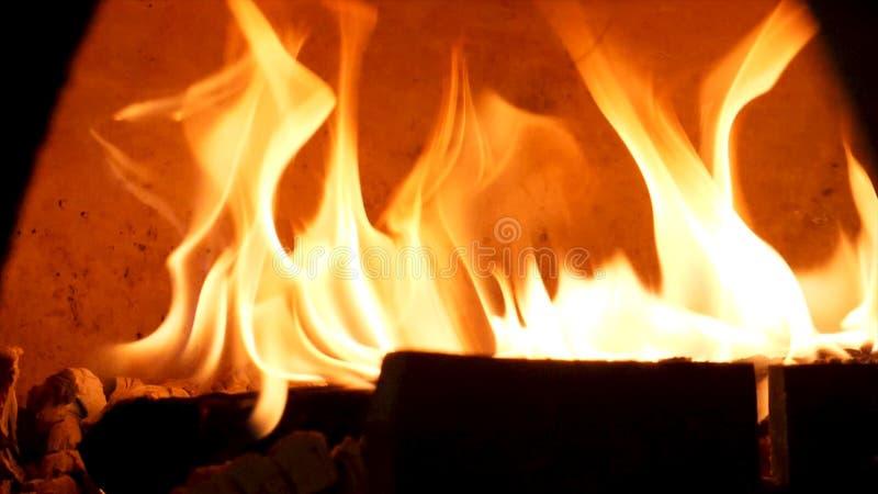 Ci?rrese para arriba para el fuego ardiente en el horno pasado de moda para la comida que cuece Cap?tulo Horno tradicional, bosqu imagen de archivo libre de regalías