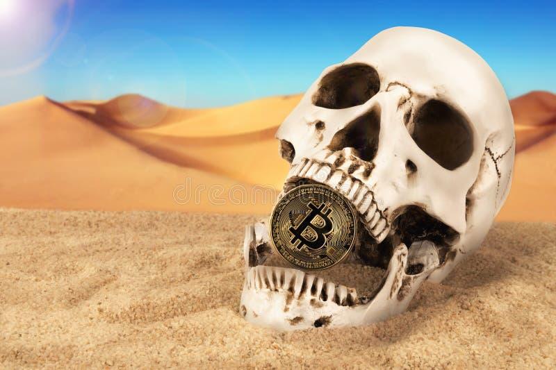 Ci?rrese para arriba en bitcoin que muerde del cr?neo sobre fondo de la arena Concepto de inversi?n imagenes de archivo