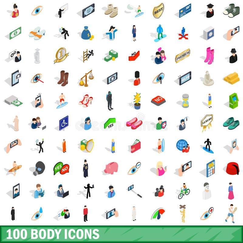 100 ciał ikon ustawiających, isometric 3d styl ilustracji