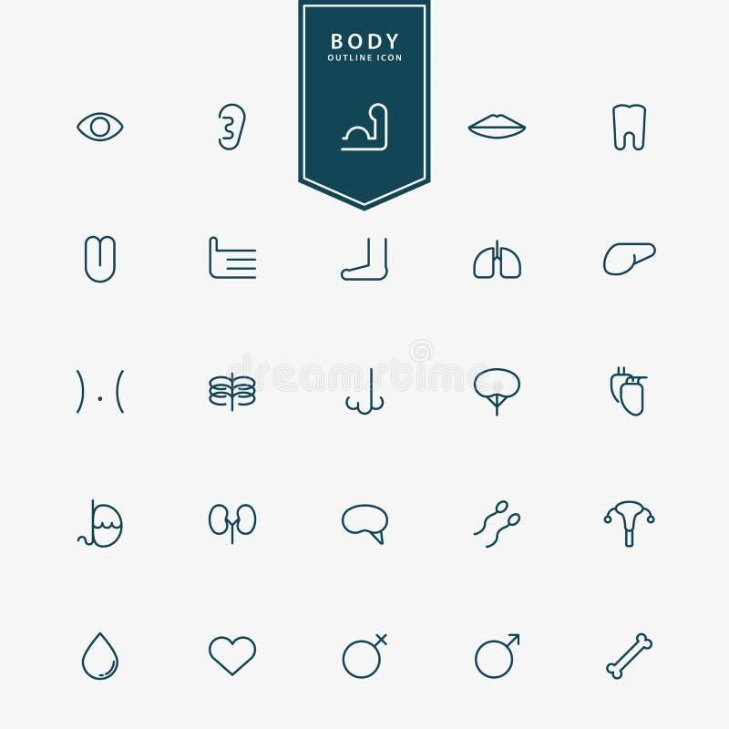 25 ciał ludzkich minimalnych kreskowych ikon ilustracji