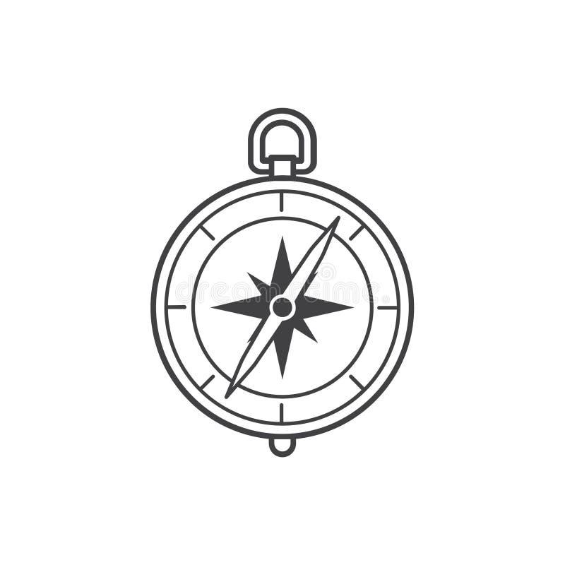 ciała centrum kompasu zieleni ikony metal ilustracja wektor