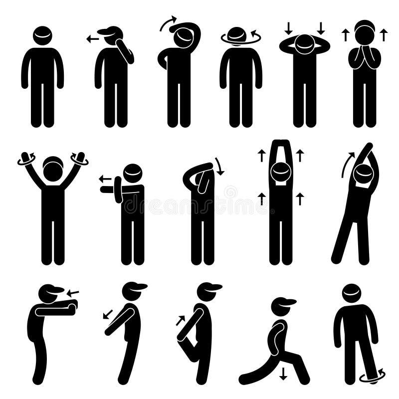 Ciała rozciągania ćwiczenia kija postaci piktogram Ic royalty ilustracja