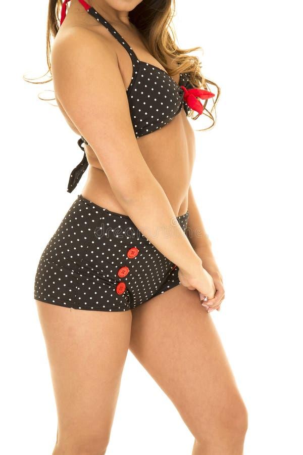 Ciało kobieta w rocznika bikini stronie wręcza puszek obraz royalty free