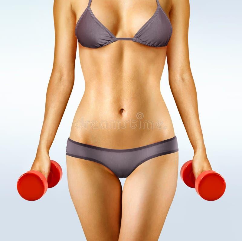 Ciało kobieta z dumbbells fotografia stock
