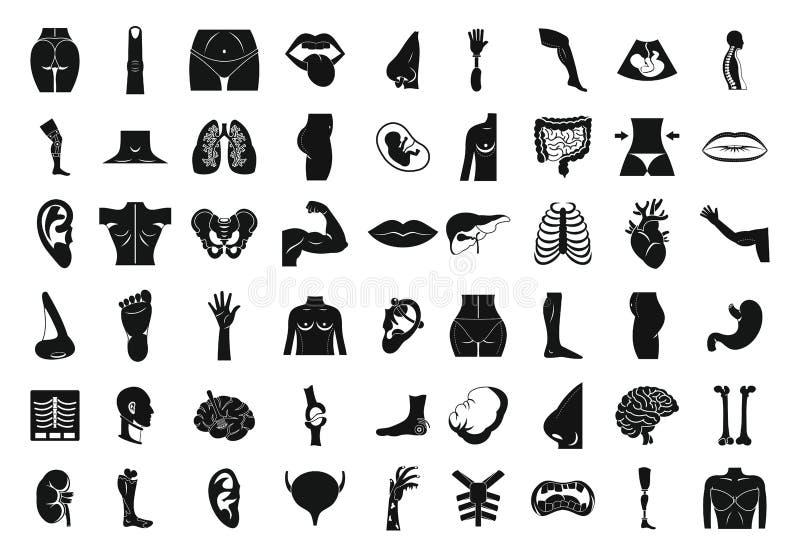 Ciało ludzkie ikony set, prosty styl ilustracji