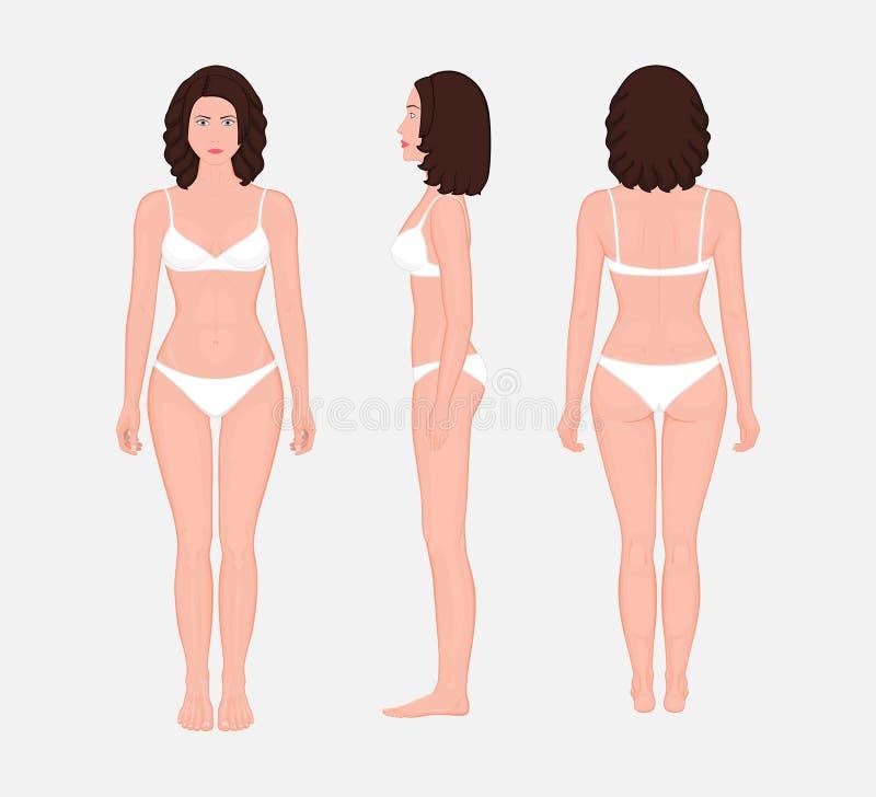 Ciało ludzkie problem_brown-haired kobieta przód z powrotem, bocznego widok i ilustracja wektor
