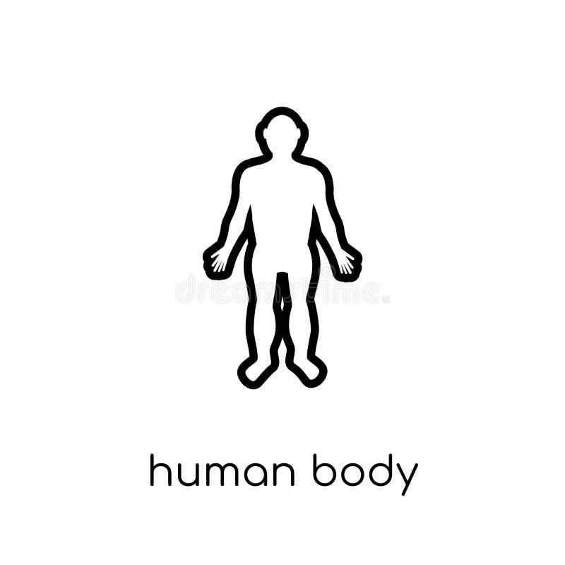 Ciało ludzkie stoi czarną ikonę Modny nowożytny płaski liniowy wektor royalty ilustracja