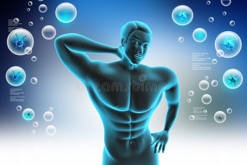 Ciało ludzkie z bólem pleców ilustracji