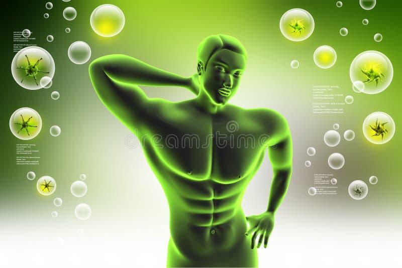 Ciało ludzkie z bólem pleców ilustracja wektor