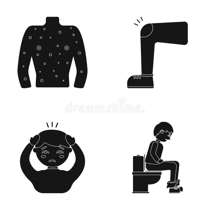 Ciało ludzkie zakrywa z wrzodami, czyrakami, czerwoną wysypką, kolanem mężczyzna z stłuczeniem, pacjentem z migreną, i ilustracji