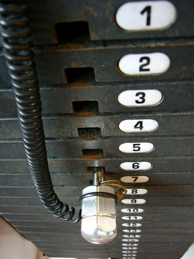 ciało majstra budowlanego numerów ustalone odważników obraz stock