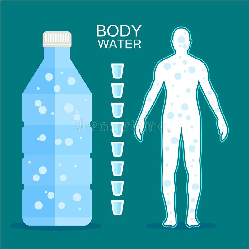 Ciało napoju ludzka woda i bidon uesful dla zdrowego ilustratora royalty ilustracja
