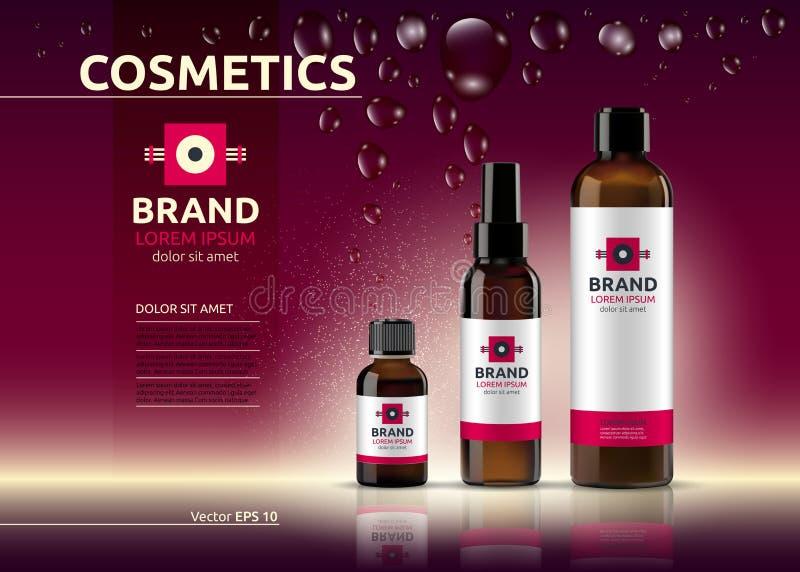 Ciało opieki kosmetyka śmietanki i serum reklam ustalony szablon Nawadniać twarzowy lub ciało płukanki Mockup 3D Realistyczna ilu royalty ilustracja