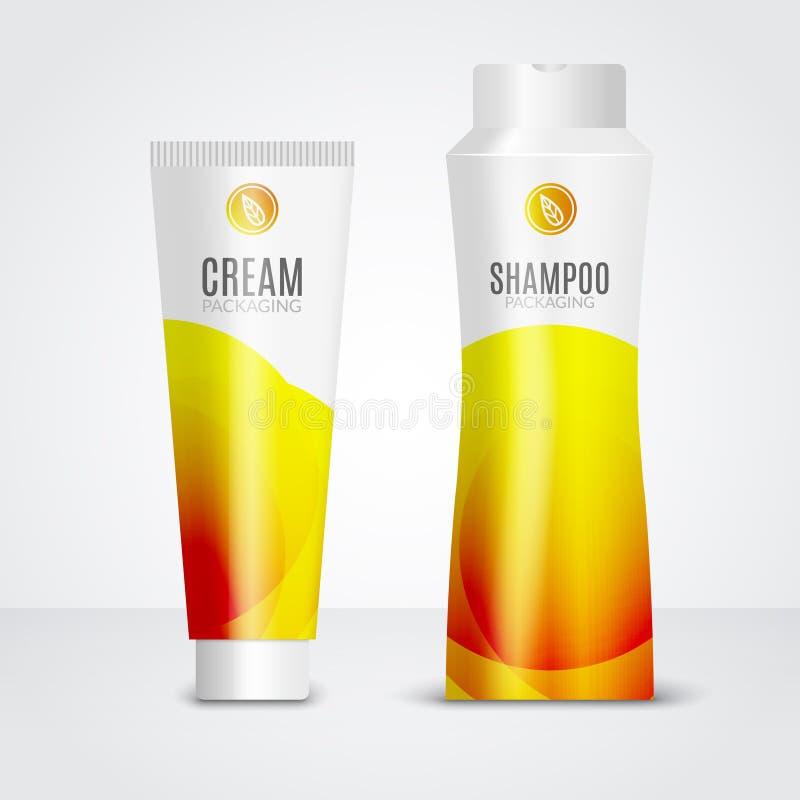 Ciało opieki kosmetyki projektują tubka szablon Pakować szablony śmietanka, gel i szampon, ilustracja wektor