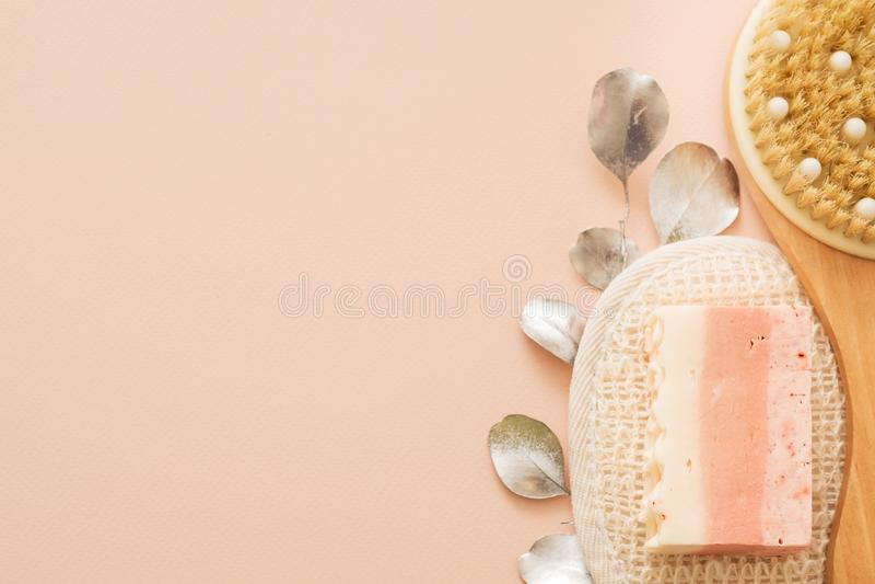 Ciało skóry opieki higieny ciała muśnięcia loofah mydło fotografia royalty free