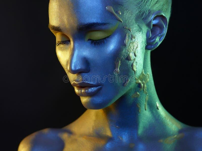 Ciało sztuki i makijaż dziewczyny twarz fotografia royalty free