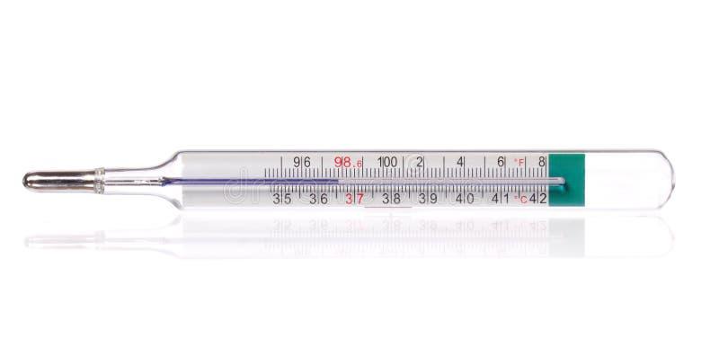Ciało termometr wystawia zdrowych ciało ludzkie temperatury 36,6 gradis Celsius i 98,6 stopnia Fahrenheit, odizolowywający zdjęcie stock