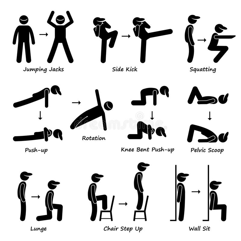 Ciało treningu ćwiczenia sprawności fizycznej szkolenie (Ustawiający Clipart 1) ilustracji