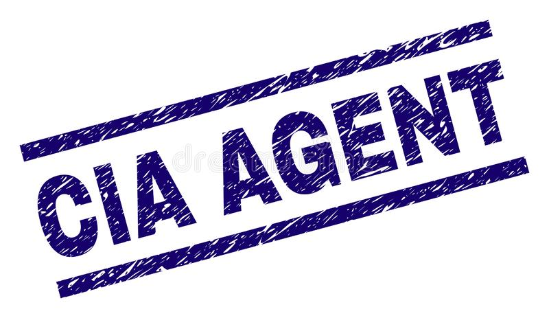Grunge Textured CIA AGENT Stamp Seal. CIA AGENT seal print with scratced style. Blue vector rubber print of CIA AGENT text with unclean texture. Text label is royalty free illustration