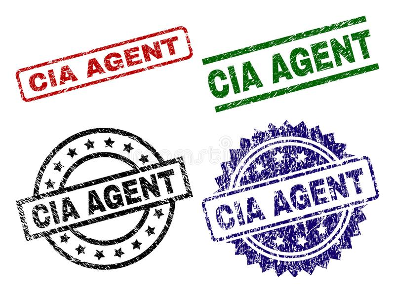 Scratched Textured CIA AGENT Stamp Seals. CIA AGENT seal prints with distress style. Black, green,red,blue vector rubber prints of CIA AGENT label with retro stock illustration