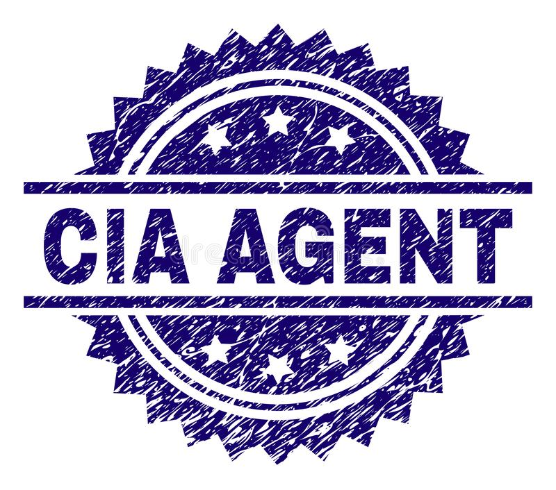 Scratched Textured CIA AGENT Stamp Seal. CIA AGENT stamp seal watermark with distress style. Blue vector rubber print of CIA AGENT caption with retro texture stock illustration