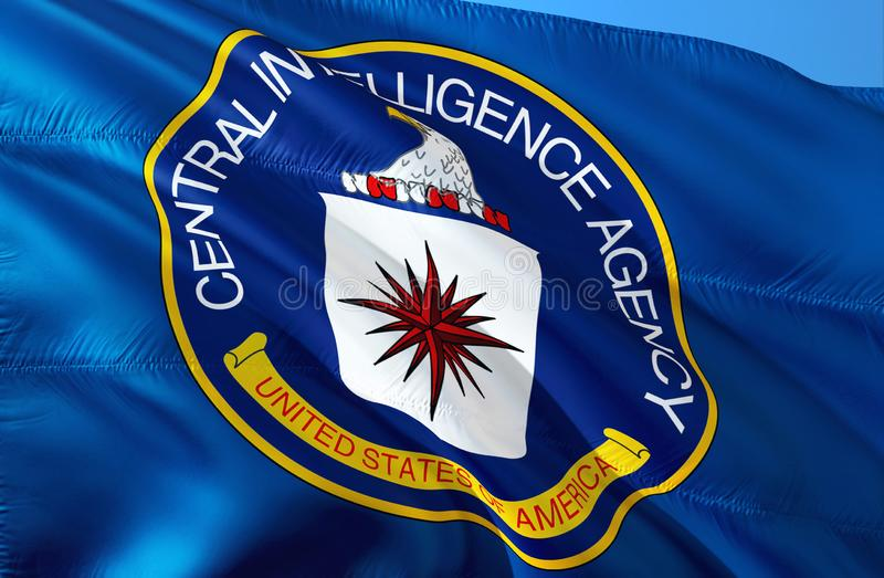 CIA flag waving in the wind, 3D rendering. CIA United States. United States Secret Service. Central Intelligence Agency. Security vector illustration
