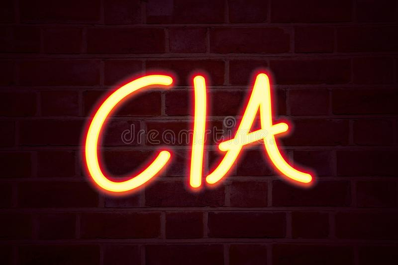 CIA neon sign on brick wall background. Fluorescent Neon tube Sign on brickwork Business concept for Abbreviation 3D rendered. Front View royalty free stock photography