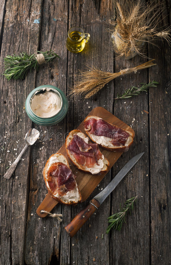Ciabatta Bread with meat Black Angus Beef with cheese paste and royalty free stock photography