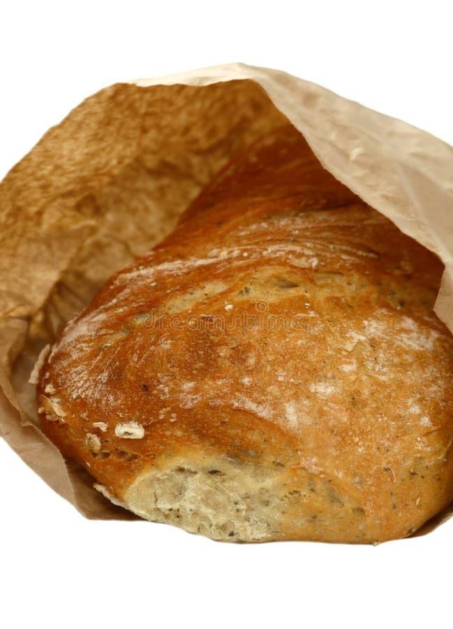 Ciabatta bread in paper bag stock photo