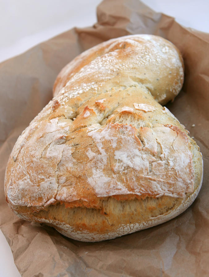 Ciabatta Brot auf dem braunen Beutel stockbilder