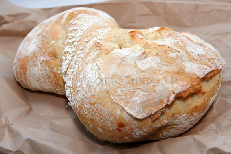 Ciabatta Brot auf dem braunen Beutel stockfotografie