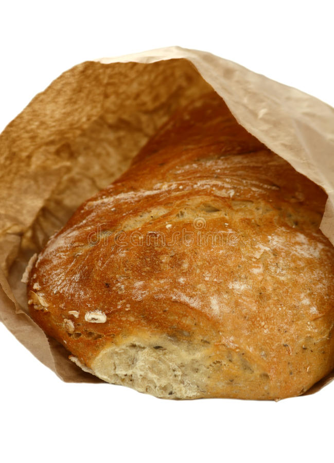 Ciabatta Brot im Papierbeutel stockfoto