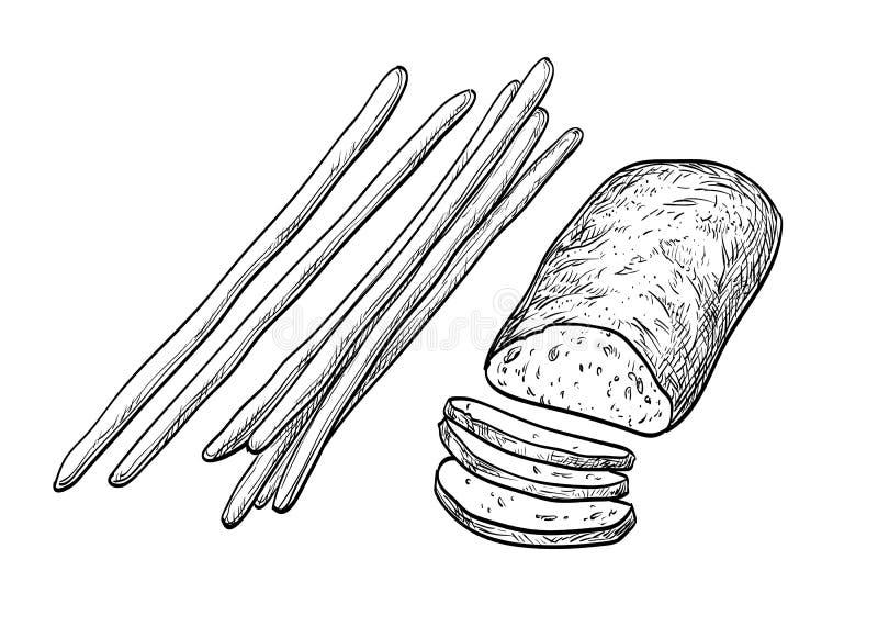 Ciabatta e varas de pão ilustração stock