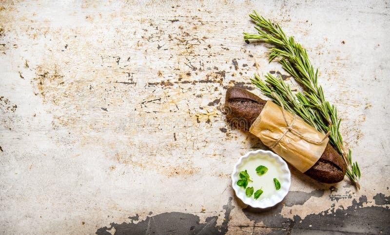 Ciabatta göras från rågmjöl med kryddor fotografering för bildbyråer