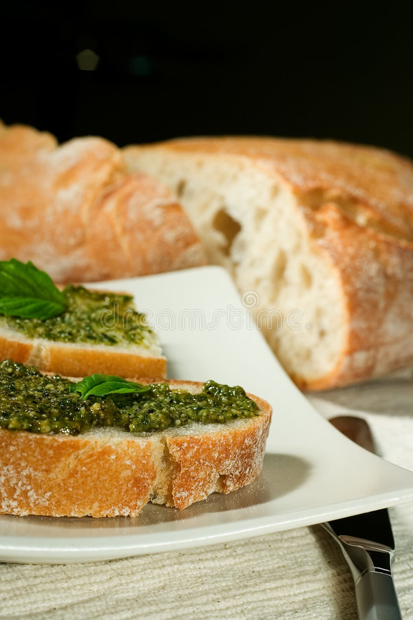 Download Ciabatta with pesto stock image. Image of ingredients - 1291377