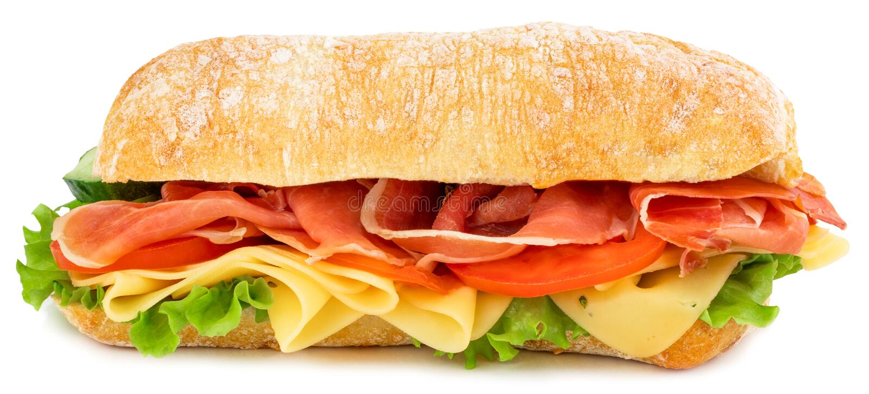 Ciabatta-Sandwich mit Kopfsalat, Tomaten Prosciutto und dem K?se lokalisiert auf wei?em Hintergrund lizenzfreie stockbilder