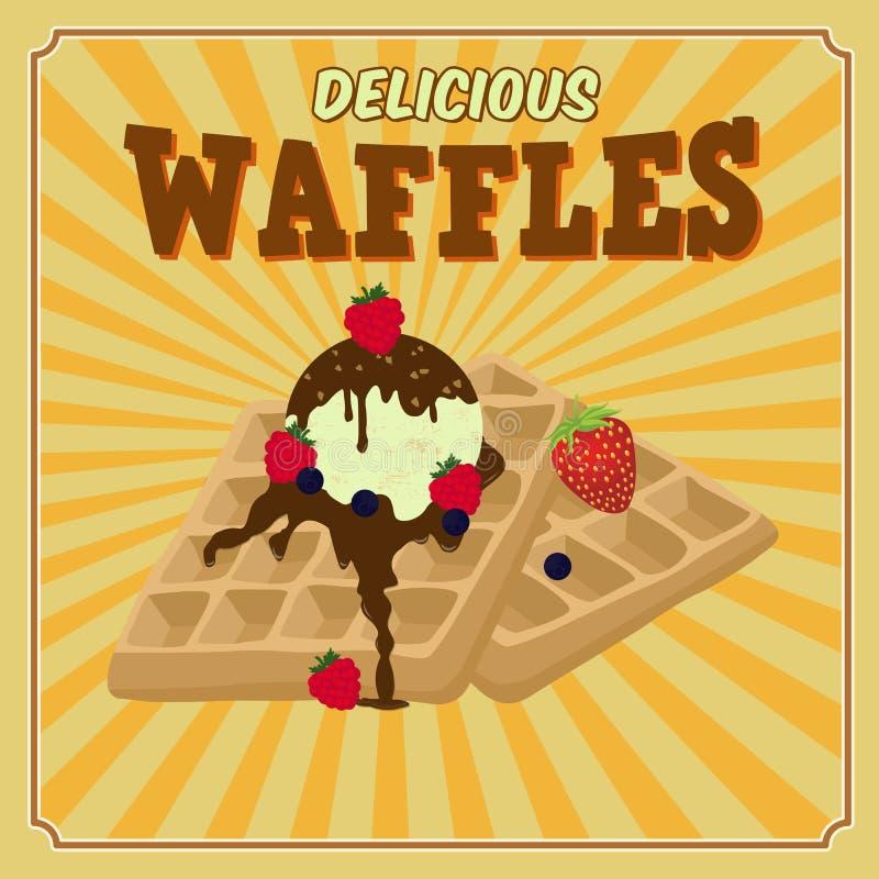 Cialde con cioccolato, il gelato e manifesto delle bacche il retro royalty illustrazione gratis