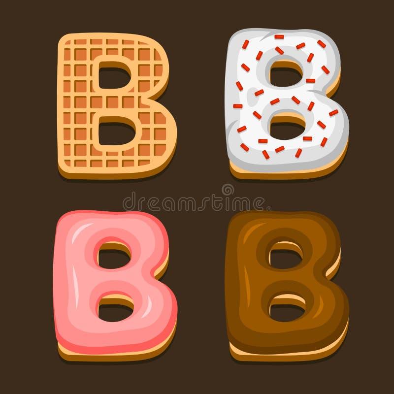 Cialde del Belgio della lettera di B con l'icona differente di Toping messa su fondo scuro Vettore royalty illustrazione gratis