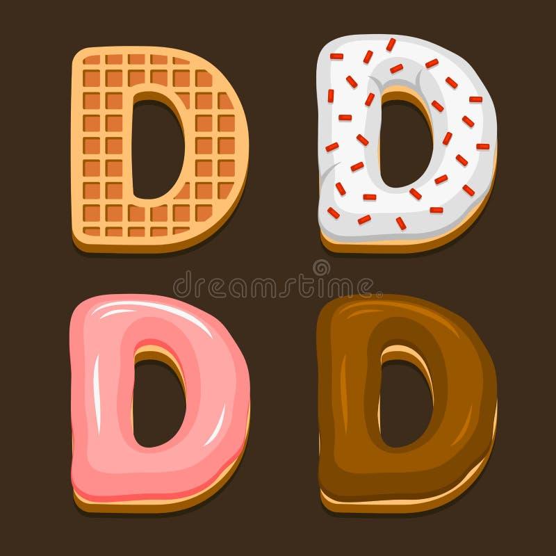 Cialde del Belgio della lettera di D con l'icona differente di Toping messa su fondo scuro Vettore illustrazione di stock