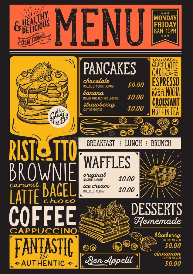 Cialde e ristorante del menu di crêpe, modello dell'alimento illustrazione di stock